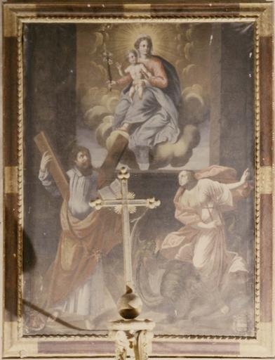 Tableau, cadre : Vierge à l'Enfant, saint André et sainte Marguerite, huile sur toile et son cadre, bois peint et doré, après 1604