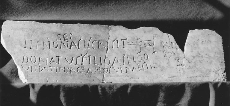 Plaque commémorative, fragment d'inscription chrétienne, marbre