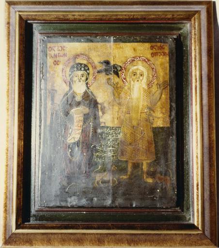 Tableau : saint Antoine et saint Paul ermite, panneau peint