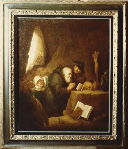 Tableau : La tentation de saint Antoine, huile sur toile, cadre en bois peint et doré