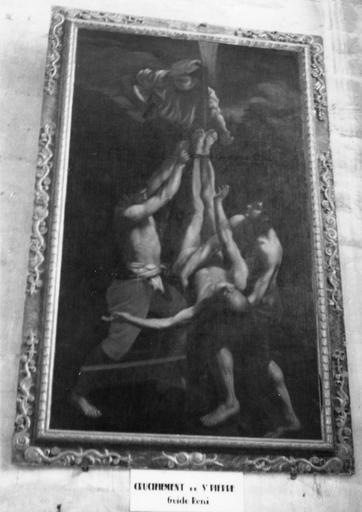 Tableau : Le crucifiement de saint Pierre, huile sur toile