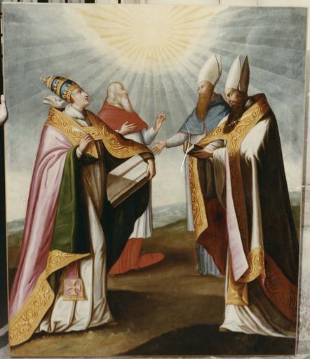 Tableau, cadre : Les 4 docteurs de l'église, huile sur toile