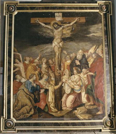 tableau, cadre : Christ en croix entouré de saints (le)