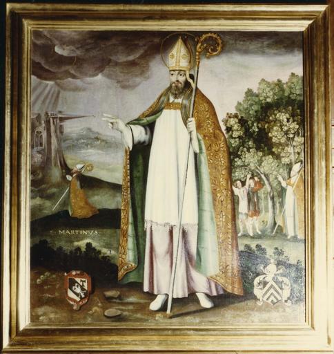 Tableau : saint Martin, huile sur toile, cadre en bois doré