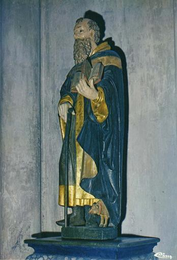 Statue : saint Antoine, bois polychrome