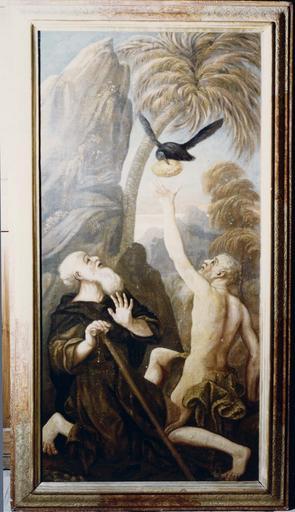 Tableau : saint Antoine et saint Paul dans le désert, huile sur toile, cadre en bois