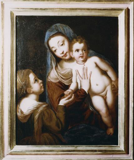 Tableau : Le mariage mystique de sainte Catherine, huile sur toile, cadre en bois doré