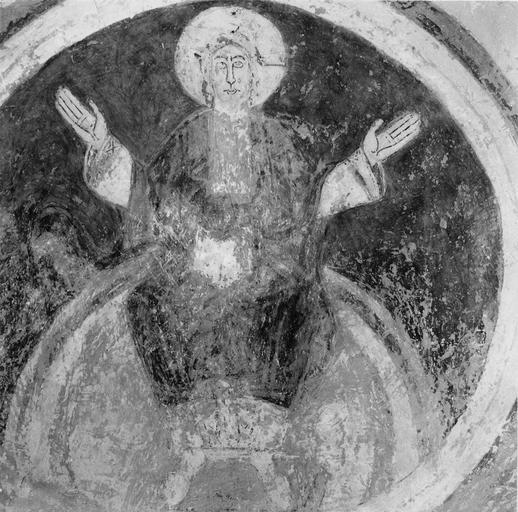 Peinture murale, détail, après dégagement des restes de badigeons blancs