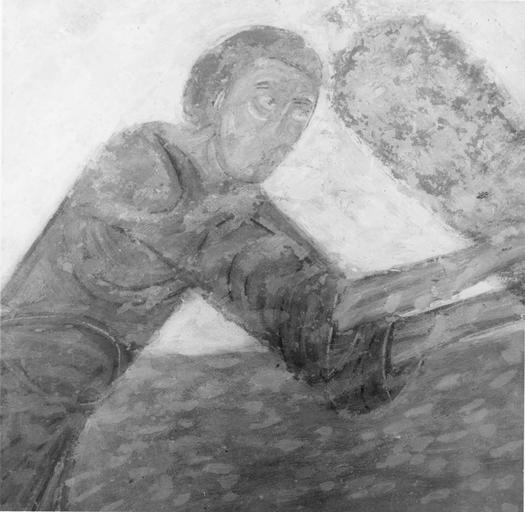 Peinture murale, détail, état après restauration de la couche picturale