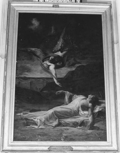 Tableau : La mort de saint Etienne, huile sur toile, cadre doré, vers 1867