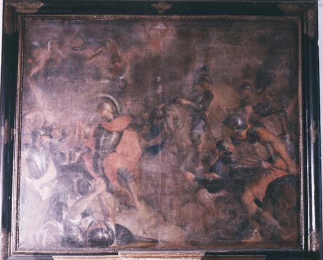 Tableau, cadre : Martyre de saint Maurice, huile sur toile, cadre en bois peint et doré