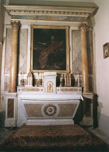 Tableau : Saint Jean, huile sur toile, cadre en bois sculpté et doré