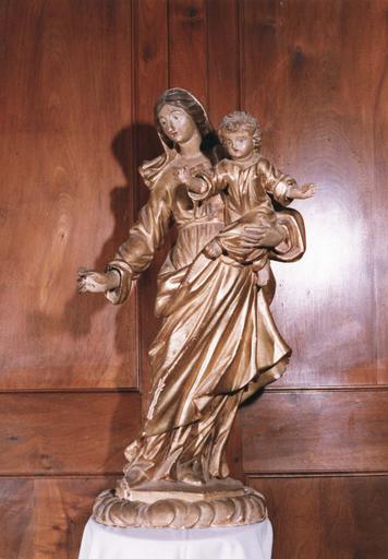 Statue : Vierge à l'Enfant, bois sculpté et doré