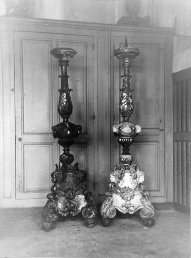 3 chandeliers, bois sculpté et polychromé