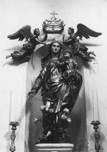 Statue : Vierge à l'Enfant couronnée par deux anges, bois