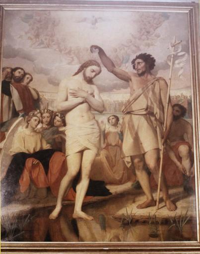 Tableau, cadre : Le Baptême du Christ, huile sur toile, cadre en bois doré, vers 1844