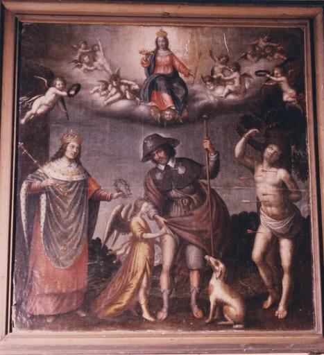 Tableau, cadre : La Vierge et les saints protecteurs de la peste, huile sur toile, cadre en bois doré