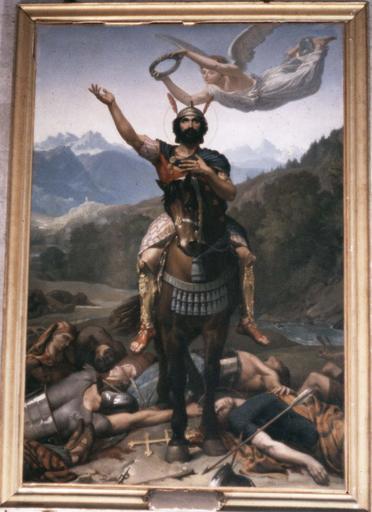 tableau, cadre : Saint Maurice (?), huile sur toile, 1859