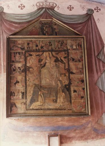 tableau : La remise du rosaire à saint Dominique et sainte Catherine de Sienne, panneau peint