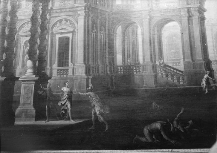 Tableau : Caprice architectural avec scène de lutte, huile sur toile