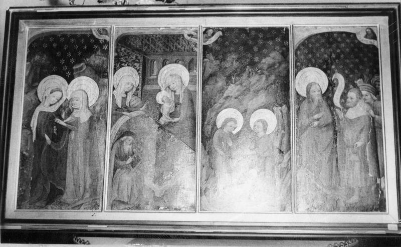 Tableau : La Visitation, La Sainte Parenté, deux épisodes de la vie de saint Jean, vue générale