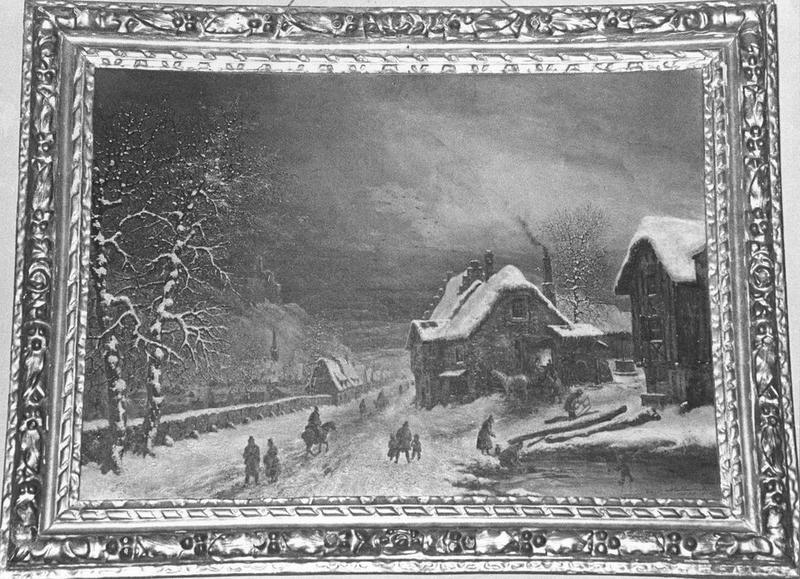 Tableau, cadre : Paysage d'hiver, vue générale