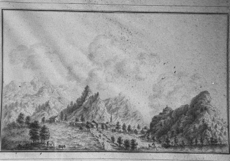 estampe : Paysages de montagne, vue générale