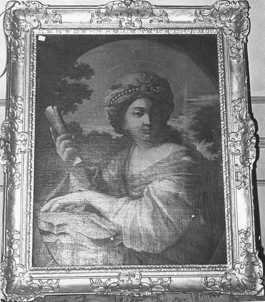 Tableau, cadre : Sainte Cécile musicienne, vue générale