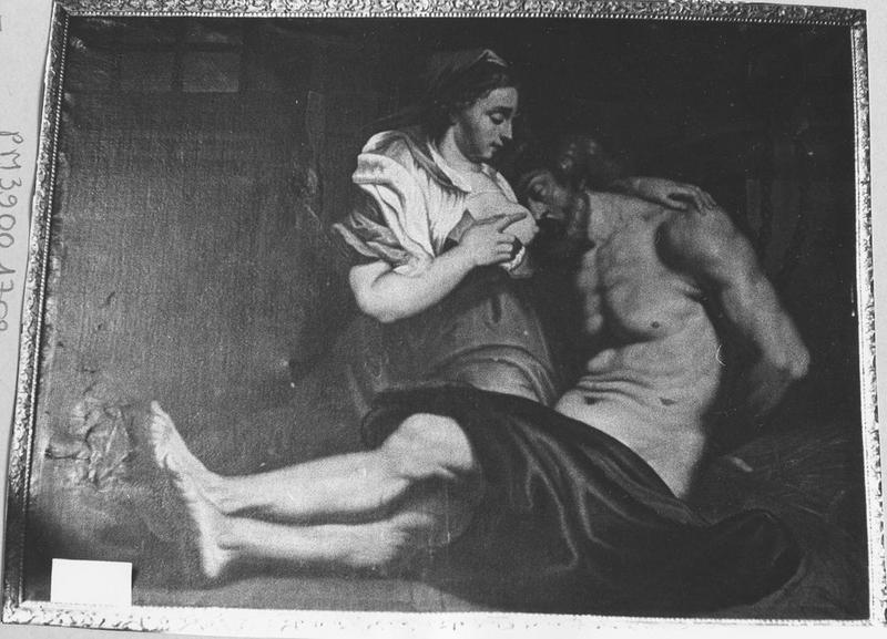 Tableau, cadre: femme allaitant un prisonnier, vue générale