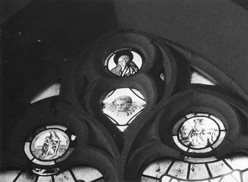 Verrière : Marie-Madeleine, Angelot, Vierge à l'enfant, saint Christophe, saint ermite, vue générale