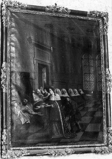 Tableau, cadre : La Reine de France visitant les malades
