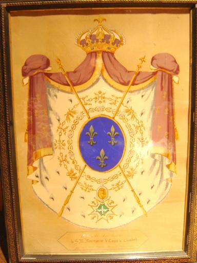 Tableau : armoiries du char funèbre du comte de Chambord
