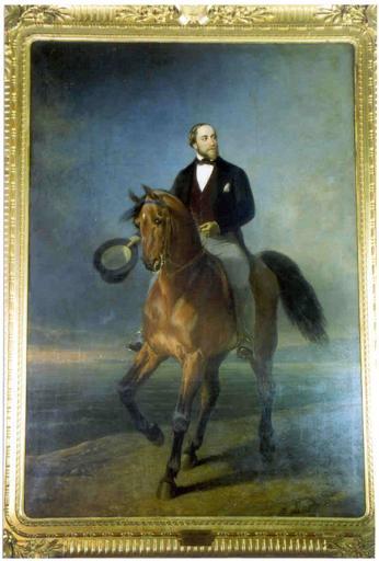 Tableau et cadre : portrait équestre du comte de Chambord