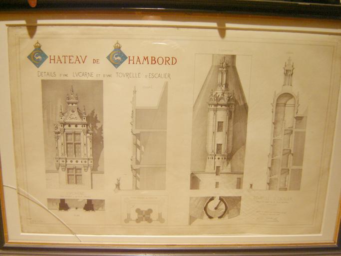 Planche avec coupe et élévation d'une lucarne et coupe, plan, élévations d'une tourelle d'escalier (1889)