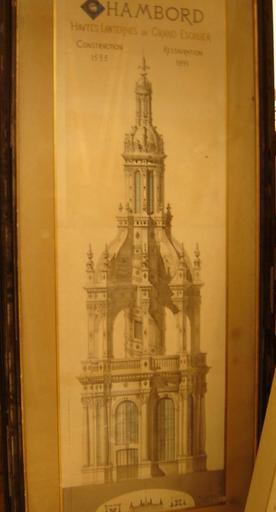 Planche avec coupe de la lanterne du grand escalier (1889)
