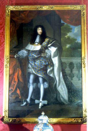 Tableau et cadre : portrait en pied de Louis XIV