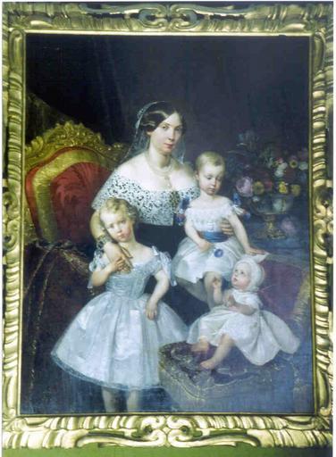 Tableau et cadre : portrait de la duchesse de Parme et ses enfants
