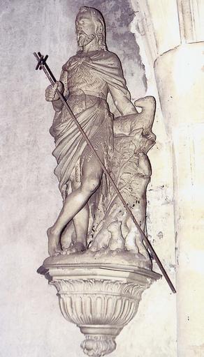 Statue : saint Jean-Baptiste, terre cuite, 18e siècle