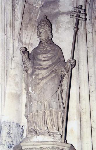 Statue : saint Pierre pape, terre cuite, 18e siècle