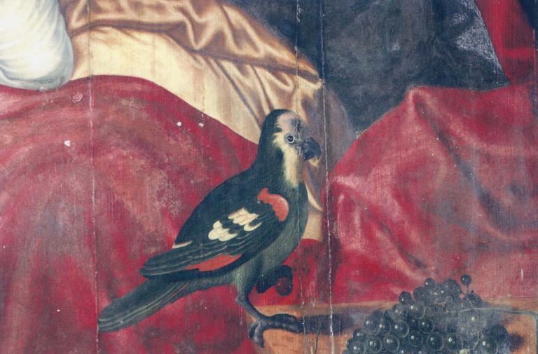 Tableau : La Sainte Famille, panneau de bois peint, détail de l'oiseau (en bas à droite)