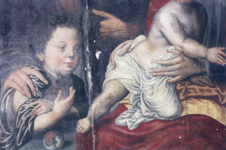 Tableau : La Sainte Famille, panneau de bois peint, détail de saint Jean