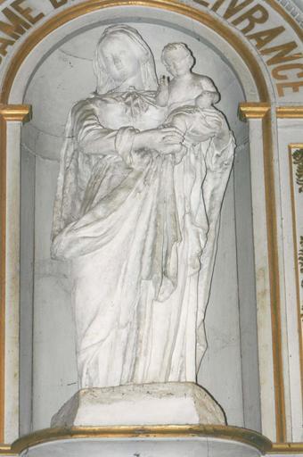 Groupe sculpté : Vierge à l'Enfant, terre cuite, 17e siècle