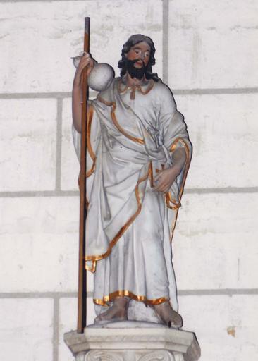 Statue : Saint Jacques, terre cuite, 17e siècle
