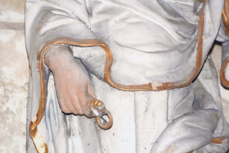 Statue : Saint Pierre, détail de la main droite, terre cuite, 17e siècle