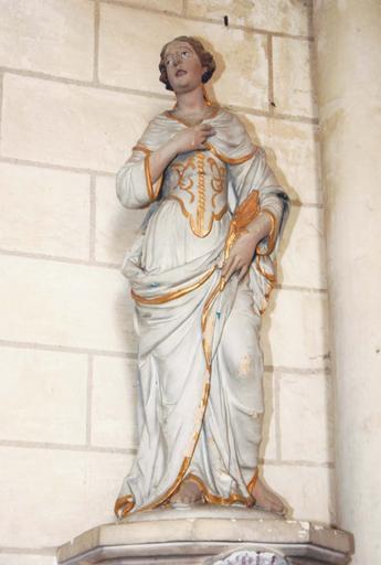 Statue : Sainte Apolline, terre cuite, 17e siècle