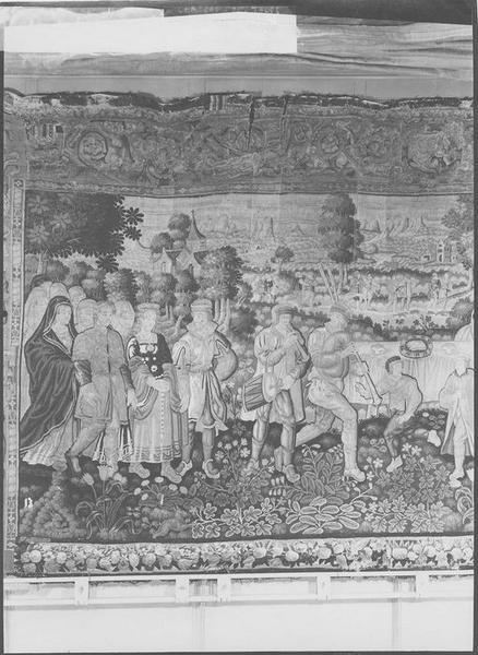 Pièce murale : scène villageoise, vue partielle