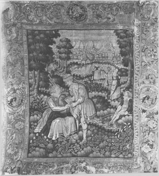 Pièce murale : scène villageoise, vue générale