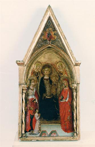 Triptyque portatif : Vierge à l'Enfant avec deux saintes et deux anges