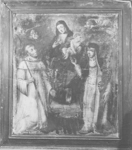 Tableau : La Vierge du Rosaire entre saint Dominique et sainte Catherine de Sienne