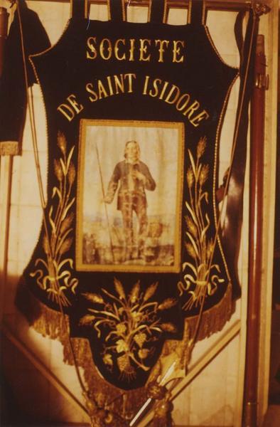 Bannière de procession de la société de saint Isidore, et sa hampe